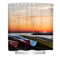 Twilight Kayaks Shower Curtain by Barbara McMahon