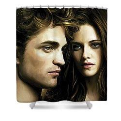 Shower Curtain featuring the painting Twilight  Kristen Stewart And Robert Pattinson Artwork 4 by Sheraz A