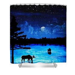 Twilight Moose Shower Curtain by Tylir Wisdom