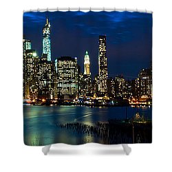 Twilight Nyc Panorama Shower Curtain by Mitchell R Grosky