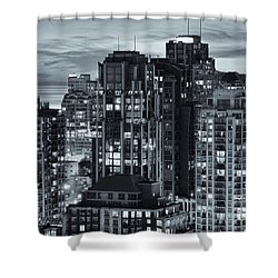 Shower Curtain featuring the photograph Twilight On Cityscape Of Vancouver Overlooking English Bay - Greeting Card by Amyn Nasser