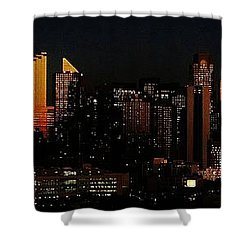 Shower Curtain featuring the photograph Twilight Reflections On New York City by Lilliana Mendez
