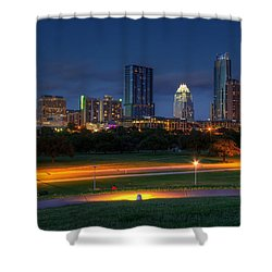 Shower Curtain featuring the photograph Twilight Skyline by Dave Files