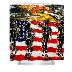 Twilights Last Gleaming Shower Curtain by Mark Moore
