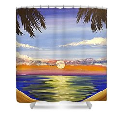 Shower Curtain featuring the painting Twin Palms by Darren Robinson