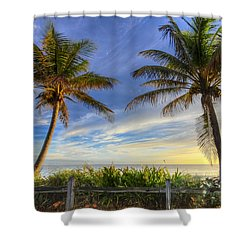 Twin Palms Shower Curtain by Debra and Dave Vanderlaan