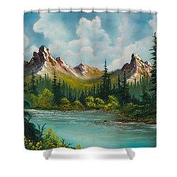 Twin Peaks River Shower Curtain by C Steele