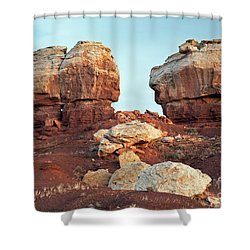 Twin Rocks At Sunrise Capitol Reef National Park Shower Curtain