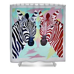 Shower Curtain featuring the painting Twin Zs by Phyllis Kaltenbach