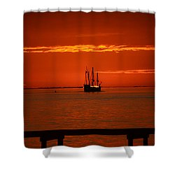 Shower Curtain featuring the photograph Two 3-masted Schooners Sail Off Into The Santa Rosa Sound Sunset by Jeff at JSJ Photography