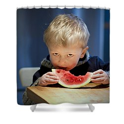 Two And A Half Years Of Watermelon Love Shower Curtain by Valerie Rosen