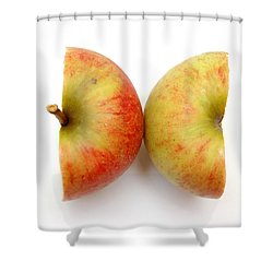 Two Apple Halves Shower Curtain by Michal Bednarek