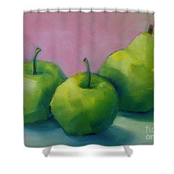 Two Apples And One Pear Shower Curtain