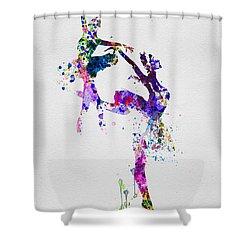 Two Ballerinas Dance Watercolor Shower Curtain by Naxart Studio