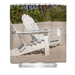 Shower Curtain featuring the photograph Two Beach Chairs by Charles Beeler