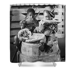 Two Boys Eating Watermelon Shower Curtain by Underwood Archives