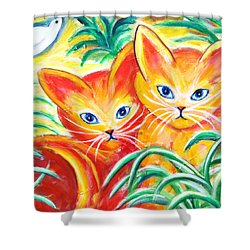 Shower Curtain featuring the painting Two Cats by Anya Heller