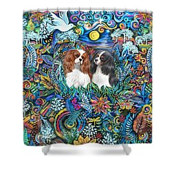 Two Cavaliers In Paradise Shower Curtain by Jean Fitzgerald