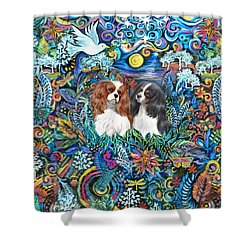 Two Cavaliers In A Garden Shower Curtain
