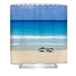 Two Chairs On Cancun Beach Shower Curtain