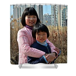 Two Chinese Teen Sisters Hug  And Embrace Shanghai China Shower Curtain