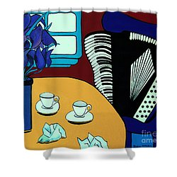 Shower Curtain featuring the painting Two Cups One Accordian by Barbara McMahon