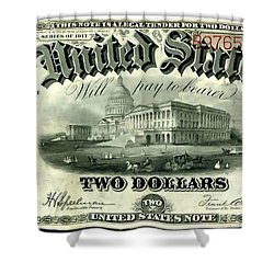 Two Dollar 1917 United States Note Fr60 Shower Curtain by Lanjee Chee