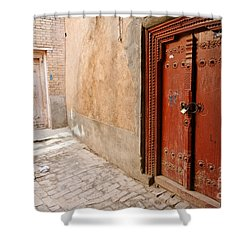 Two Doors In The Old Town Of Kashgar Shower Curtain by Robert Preston