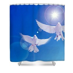 Two Doves Side By Side With Wings Shower Curtain by Panoramic Images