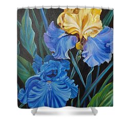 Two Fancy Iris Shower Curtain