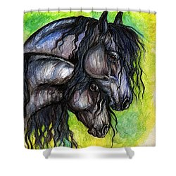 Two Fresian Horses Shower Curtain by Angel  Tarantella