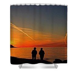 Two Friends Enjoying A Sunset Shower Curtain