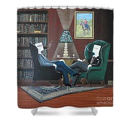 Two Gentlemen Sitting In Wingback Chairs At Private Club Shower Curtain by John Lyes