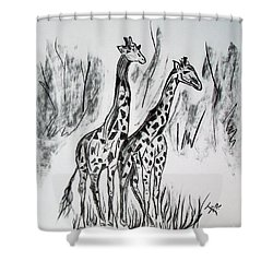 Shower Curtain featuring the drawing Two Giraffe's In Graphite by Janice Rae Pariza