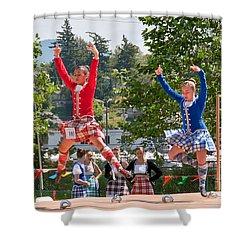 Two Girls Scottish Dancing Art Prints Shower Curtain
