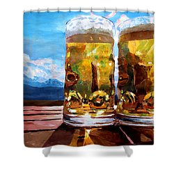 Two Glasses Of Beer With Mountains Shower Curtain by M Bleichner