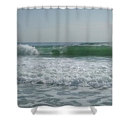 Two Green Waves Shower Curtain