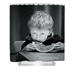 Two Hands And A Slice Of Adorable Shower Curtain by Valerie Rosen
