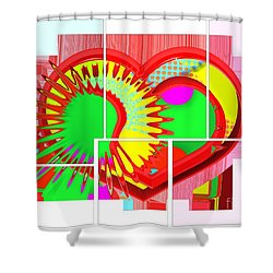Two Hearts Are Better Than One Shower Curtain by Liane Wright