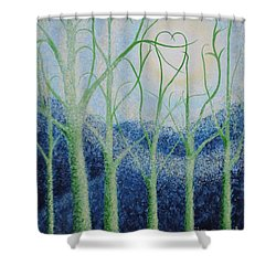 Shower Curtain featuring the painting Two Hearts by Holly Carmichael