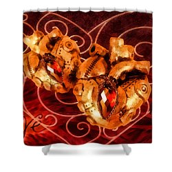 Two Hearts Shower Curtain by Mo T