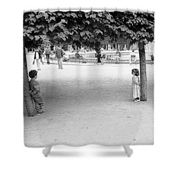 Two Kids In Paris Shower Curtain