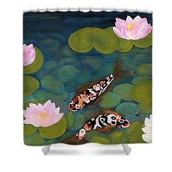 Two Koi Fish And Lotus Flowers Shower Curtain