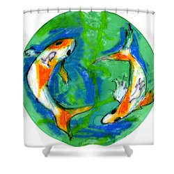 Two Koi Fish Shower Curtain by Genevieve Esson