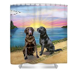 Two Labs At The Lake Shower Curtain by Jean B Fitzgerald