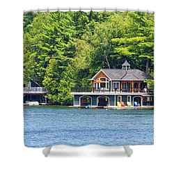 Two Luxury Boathouses Shower Curtain by Les Palenik