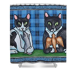 Two Mewses Shower Curtain by Beth Clark-McDonal