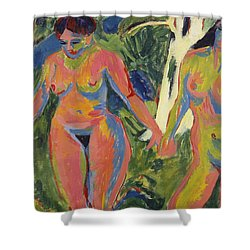 Two Nude Women In A Wood Shower Curtain by Ernst Ludwig Kirchner