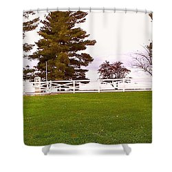 Two Old Gas Pumps Shower Curtain