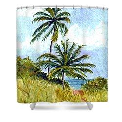 Two Palms Shower Curtain by Clara Sue Beym